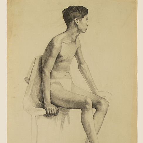 Nude boy on chair