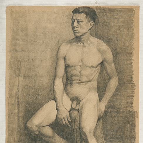 Nude man on chair